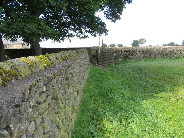 Field edge footpath joining Clint Bank via wall stile at Hark Hill Nook