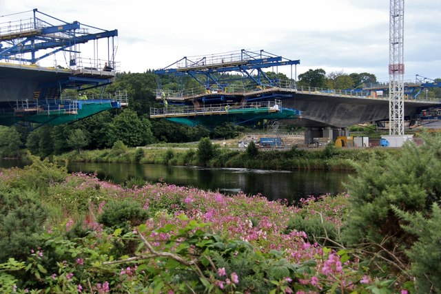 Road bridge construction on the Dee at Inch of Culter