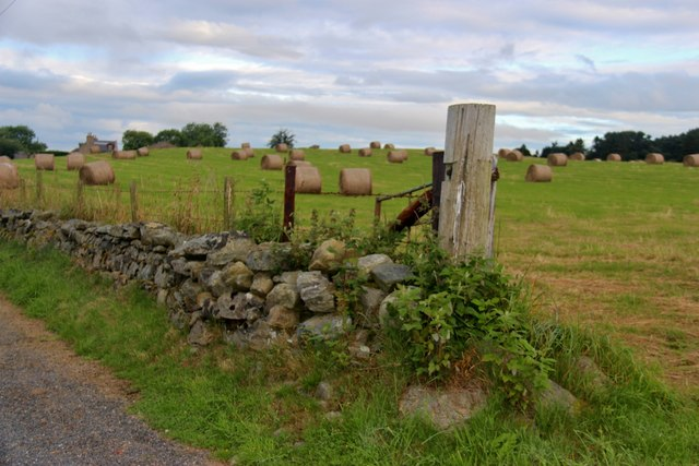 Roadside wall and cropped field at Farburn