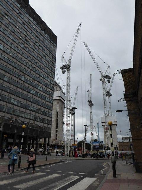Cranes outside Waterloo Station