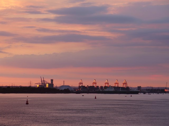 Southampton Container Terminal at sunset