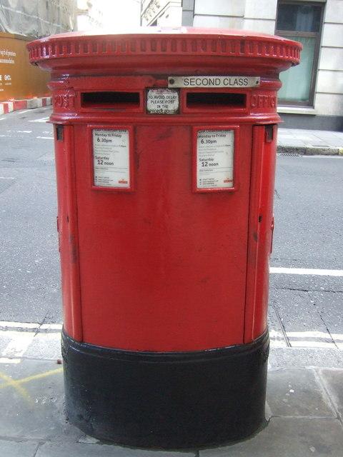 Double aperture postbox on Moorgate, London EC2