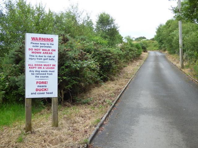 Warning sign at Skelmorlie Golf Club