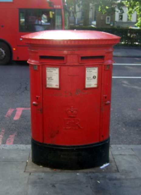 Double aperture Elizabeth II postbox on Upper Street, Islington N1