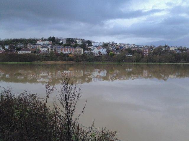 River Yar in flood at Brading