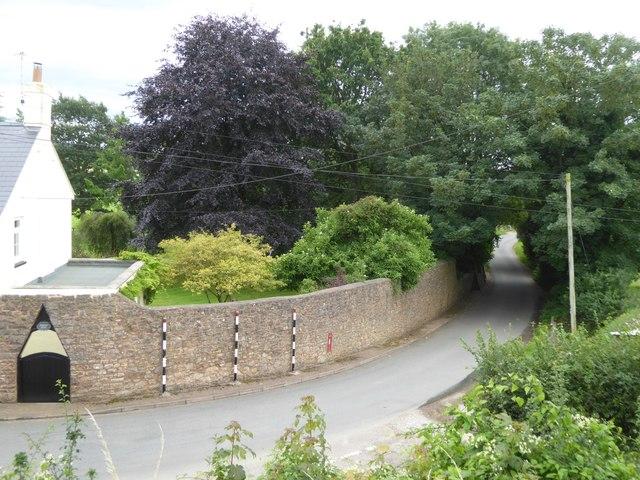 Road at Ayshford and wall of Ayshford House