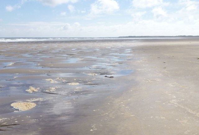 Wet sand and drier sand