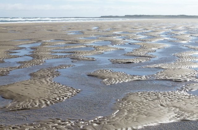 Sand islands and salt water lakes at low tide