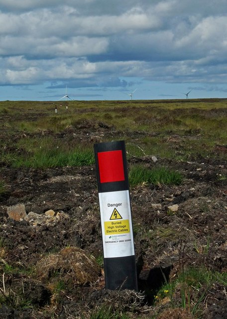 Course of underground high voltage electric cable, Slickly, Caithness