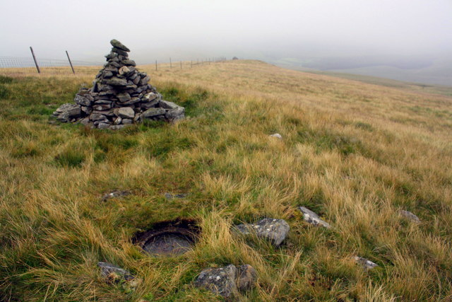 Trig point and cairn on Swarth Fell Pike