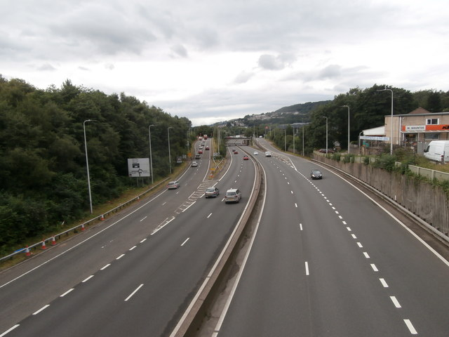 The A470, seen from the footbridge