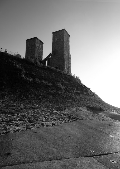 Reculver: the twin towers from the north-east