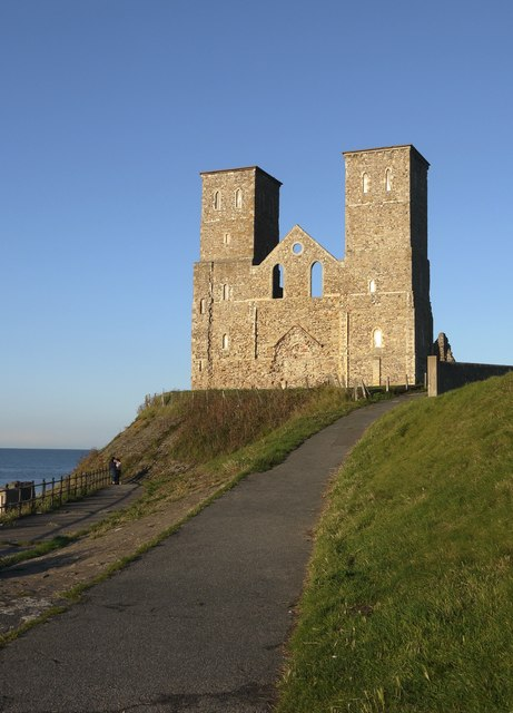 Reculver: the twin towers from the west