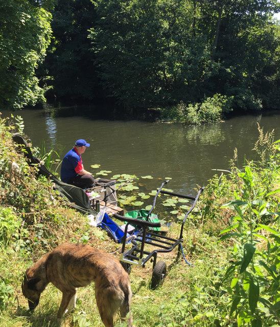 Waiting for a bite, River Avon, southeast Warwick