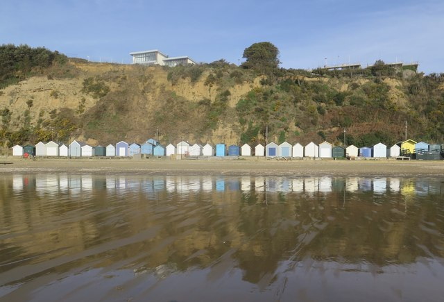 Sandown beach huts at low tide