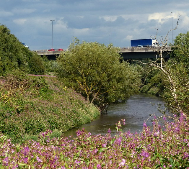 M1 motorway crossing the River Aire