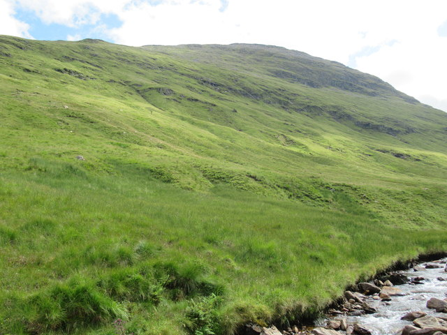 View of ground above the east bank of Allt Coire Laoigh near Tyndrum
