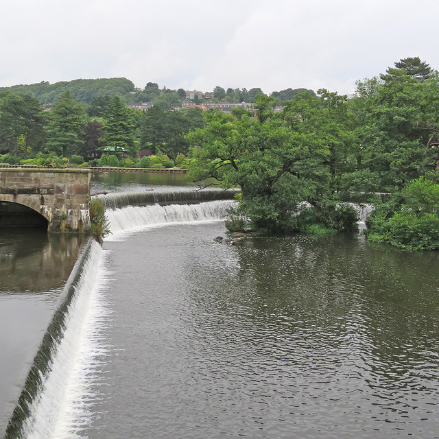 Belper: the weirs at Strutt's Mills