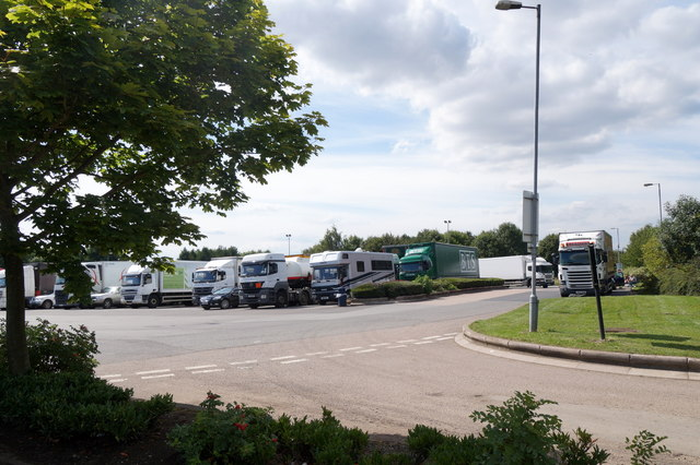Lorry park at Warwick Services