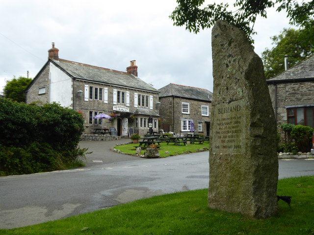 Millennium stone on Blisland village green