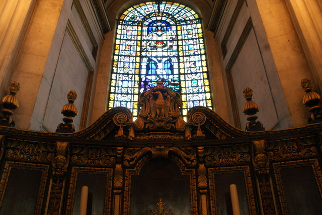 Looking up at a stained glass window in St. Paul's Cathedral