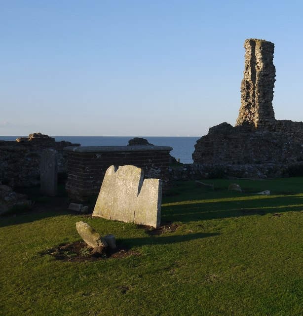 Reculver: tombstones in the abandoned churchyard