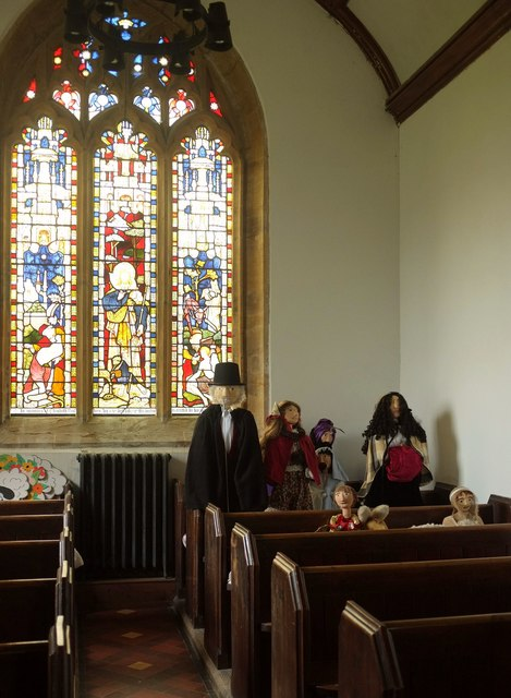 Scarecrow family, All Saints Church, Kingsdon
