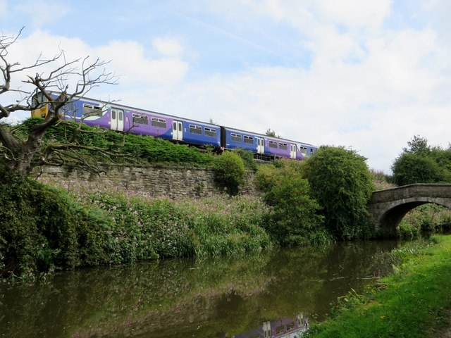 Train and canal