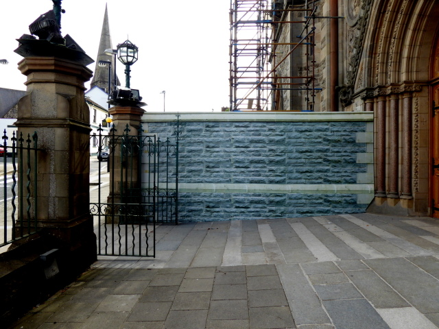 Temporary wall, Sacred Heart Church, Omagh