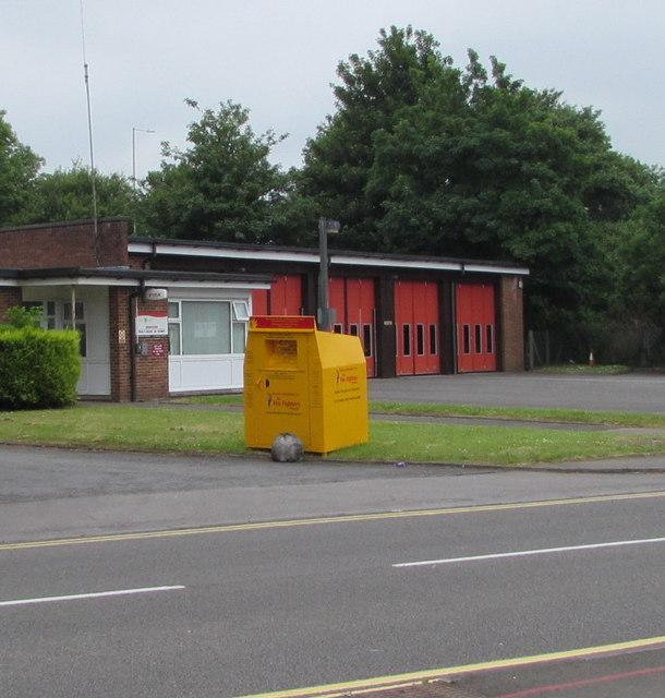 Yellow donations bin outside Bridgend Fire Station