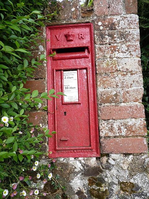 Victorian postbox at Harcombe