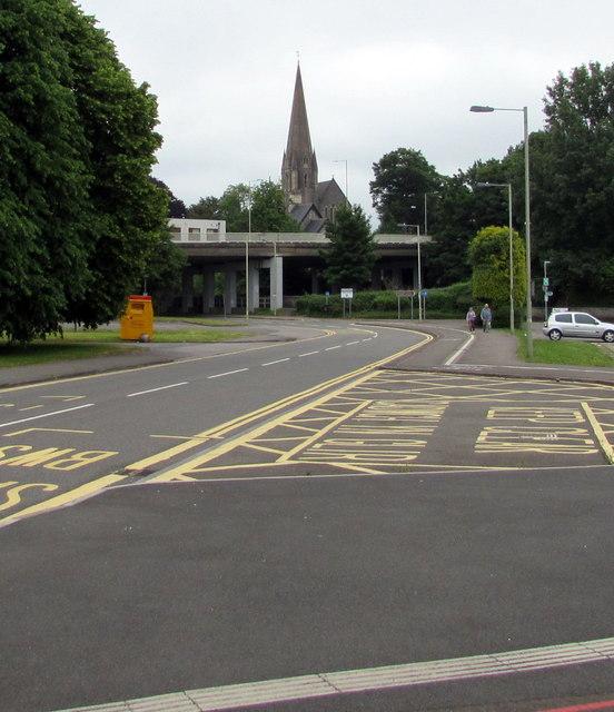 Towards the spire of St Mary's Church, Nolton, Bridgend