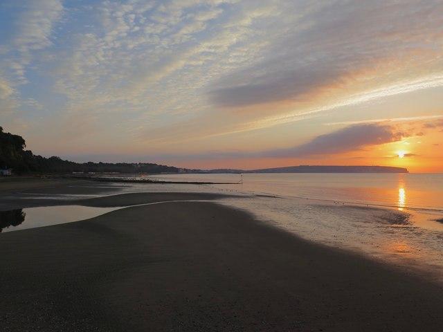Summer sunrise over Sandown Bay