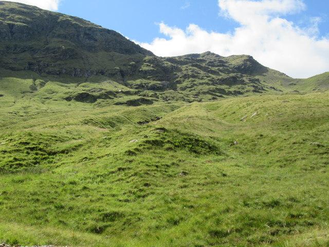 Dry stream courses above Allt Coire Laoigh near Tyndrum