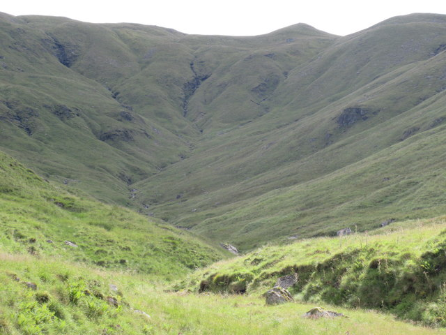 Looking into the heart of Coire Laoigh at the foot of Ben Lui near Tyndrum
