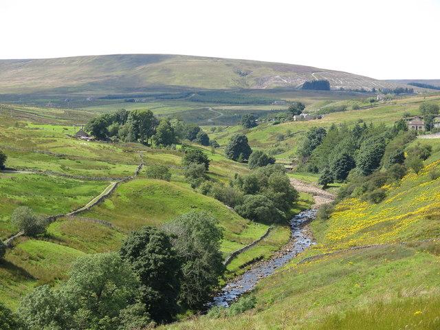 The valley of Rookhope Burn around Heathery Bridge