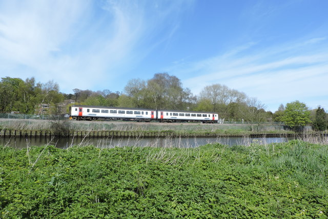 Train as viewed from Whitlingham Broad