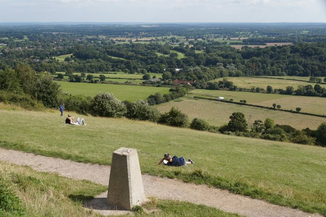The trig point and view point on Box Hill