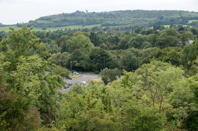 Roundabout at Burford Bridge from Box Hill