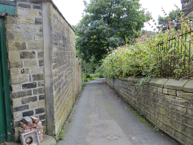 The narrow, wall enclosed, Jerry Lane in Sowerby Bridge linking Haugh End Lane with Rochdale Road (A58)