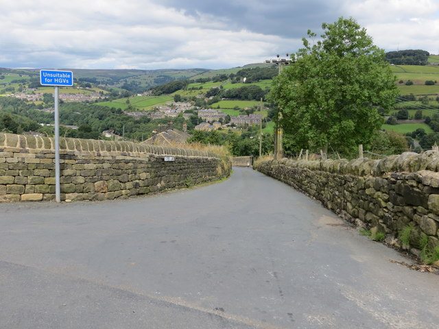 The wall enclosed Styes Lane near Sowerby at its junction with Pinfold Lane