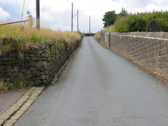 The wall enclosed aptly named Steep Lane near Sowerby