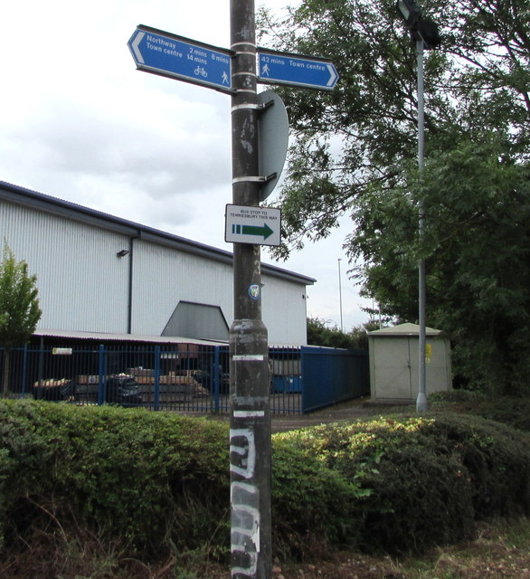 Walkers and cyclists direction signs, Northway Lane, Ashchurch