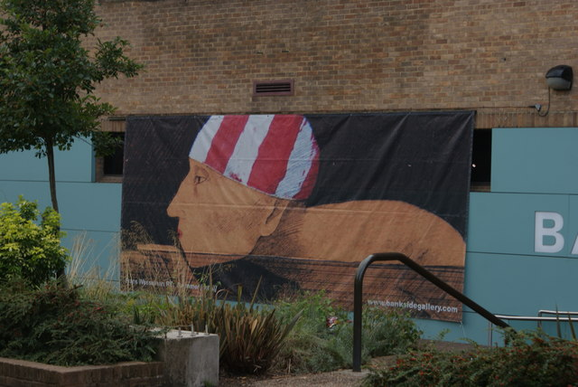 View of wall art on the rear of the Bankside Gallery from the South Bank