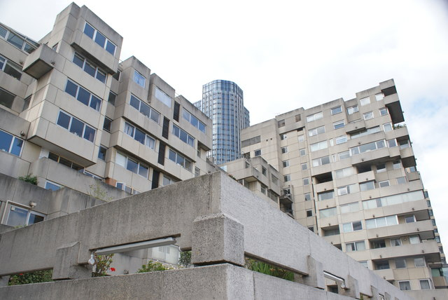 View of residential apartments on Upper Ground and the South Bank Tower from the South Bank