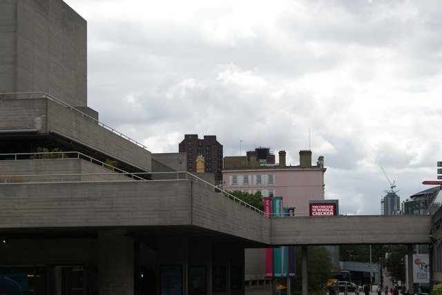 View of a towerblock by Waterloo station and the Kings College London Franklin-Wilkins Building from the South Bank