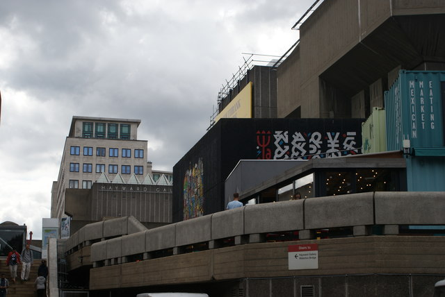 View of Japanese wall art at the rear of the Southbank Centre