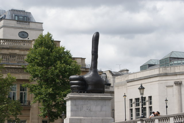 """View of David Shrigley's """"Really Good"""" thumbs-up sculpture from Trafalgar Square"""