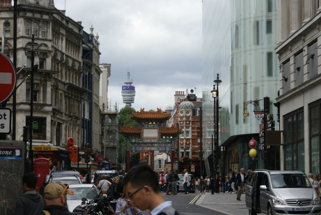 View of the entrance pagoda of Chinatown from Whitcomb Street