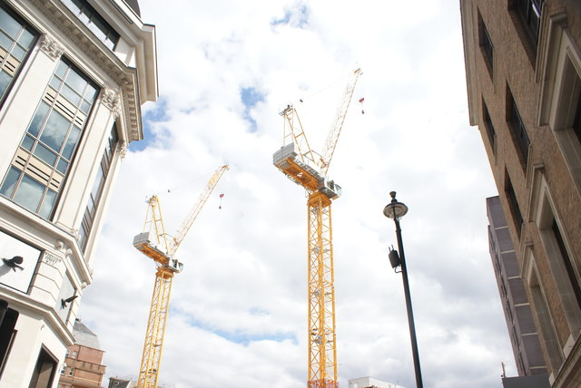 View of cranes on a building site on Whitcomb Street